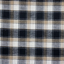 Black, White, and Tan Plaid Flannel Fabric