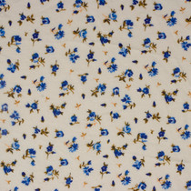 Mini Blue Roses on Ivory Flannel Print Fabric