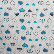 Blue Hearts & Grey Dots on White Flannel Print Fabric