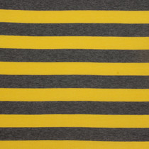 "Bright Yellow & Dark Grey 1"" Striped Jersey Knit Fabric"