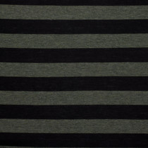 Black and Olive Green Striped Jersey Knit Fabric