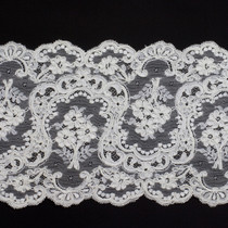 """6.5"""" White Re-embroidered Lace Trim"""