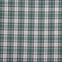 Green and Blue on White Tartan Plaid Cptton Shirting Fabric