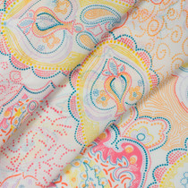 Bright Jumbo Paisley on White Chiffon