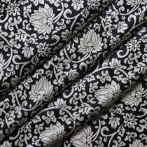 Black and White Lotus Silk Charmeuse Print