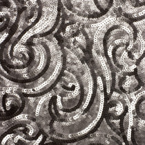 Taupe Swirling Pattern Sequin Fabric