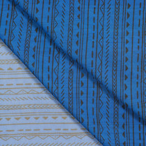 Royal Blue Hand Drawn Tribal Stripe Chiffon