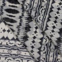 Black and Off-White Pattern Stripe Chiffon