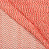 Red-Orange and White Thin Chevron Rayon Chiffon Print Fabric