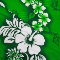 Vibrant Green Hibiscus Stripe Hawaiian