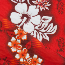 "Vibrant Red Hibiscus Stripe Hawaiian 60"" Broadcloth"