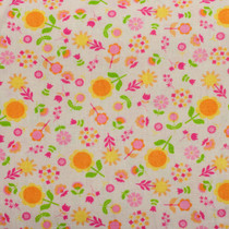 Floral Print on White Midweight Blend Fabric