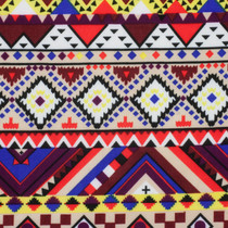 Red, Purple, and Yellow Tribal ITY Jersey Knit Print