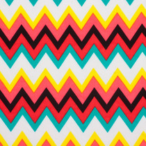 Red, Yellow, and Aqua Chevron ITY Jersey Knit Print