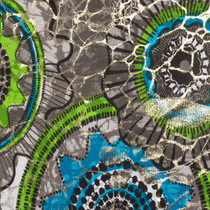 Lime and Turquoise Medallion Nylon Lycra with Metallic Overlay
