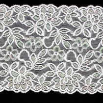 "6"" Iridescent White Stretch Lace Trim"