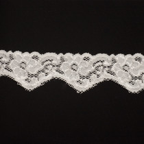 "2"" Ivory Floral Stretch Trim"