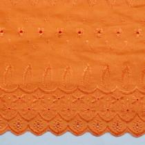 Orange Embroidered Cotton Eyelet