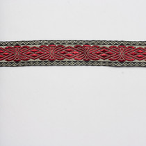 "Burgundy, Grey, and Black 1.25"" Jaquard Ribbon"