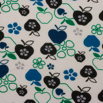 Blue, Green, and Black Apple Print Jersey Knit