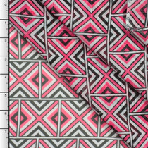 Hot Pink Geometric Tribal Chiffon Print