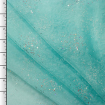 Aqua Sparking Beaded Organza