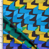 Green, Yellow, and Blue Arrows on Black ITY Knit Print
