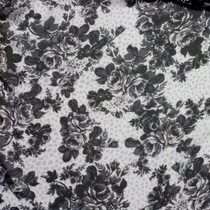 Grayscale Roses Floral Chiffon Print - Wide shot to show pattern