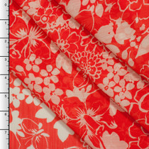 Retro Floral Print on Orange Crinkle Chiffon