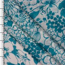 Turquoise Retro Floral Print on White Crinkle Chiffon