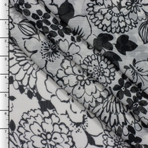 Black Retro Floral Print on White Crinkle Chiffon