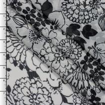 Black Retro Floral Print on White Crinkle Chiffon