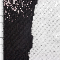 Black and White Reversible Two Tone Sequin Fabric
