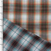 Brown, Orange, Turquoise, and White Plaid Reversible Double Gauze