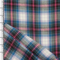 Pink, Blue, Lavender, and Silver Plaid Double Gauze