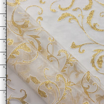 Glittering Gold Floral Scrollwork on White Organza