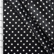 Black and White Mini Polka Dot Charmeuse Satin Print