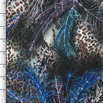 Blue/Grey Feather and Animal Print Rayon Challis