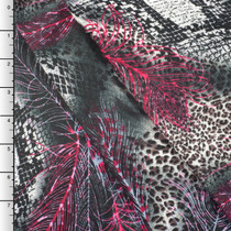 Red/Grey Feather and Animal Print Rayon Challis