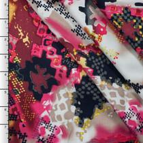 Hot Pink Digital Grunge Southwestern Print Rayon Challis