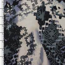 Grey/Black Digital Grunge Southwestern Print Rayon Challis