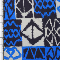 Silver, Blue, and Navy Island Checkers ITY Knit Print