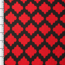 Black and Red Modern Diamond Rayon Lycra Knit Print