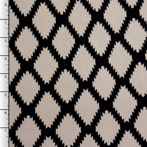 Black and Taupe Serrated Diamond Rayon Lycra Knit Print