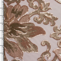 Blush and Pale Gold Large Floral Sequin Fabric