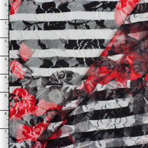 Red Roses on Black and White Striped Stretch Lace