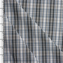 Light Gray and Charcoal Plaid Stretch Cotton Shirting