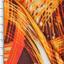 Flamelike Brushstroke Rayon Challis Print