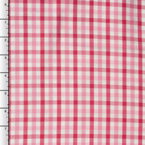 Pink and Hot Pink Plaid Fine Cotton Shirting