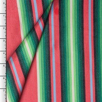 Red and Green Sarape Stripe Cotton Dobby by Robert Kaufman